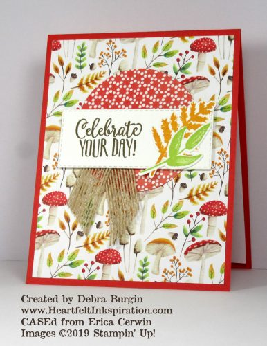 Painted Seasons | Love this autumnal woodland pattern!  I paired this 2019 Sale-A-Bration with a sentiment from another SAB set.  Please click to read the little trick with that circle! | Stampin' Up! | HeartfeltInkspiration.com | Debra Burgin