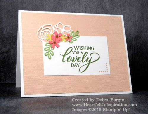 Forever Lovely | This beautiful corner floral die is so intriguing!   Happy this stamp set and dies will be in the Stampin' Up! 2019-2020 Annual Catalog!  Please click to read more! | Stampin' Up! | HeartfeltInkspiration.com | Debra Burgin